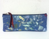 SALE >> Upcycled Denim Pencilcase. Hand Painted Artist's Case. Recycled Leather Pouch. Abstract Art.