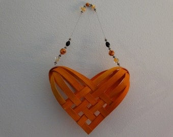 Hand Woven Basket in Sunshine Orange with beaded handle.   Heart Basket.  Gift Basket.Hand woven baskets in fun colors!