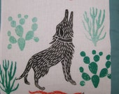 Desert Dog, original block printed pillow
