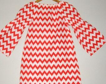 Christmas dress RED  Chevron  long sleeve peasant dress Christmas dress  winter dress 2t, 3t, 4t, 5t, 6,7,8,