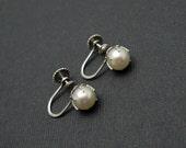 14K White Gold Pearl Earrings Vintage Bridal Jewelry