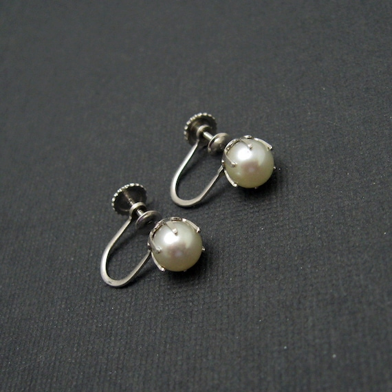 14k white gold pearl earrings vintage bridal by
