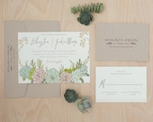 Succulent Wedding Invitation, Bohemian Wedding Invitation, Garden wedding, Outdoor wedding invitation, Calligraphy floral invitation SAMPLE