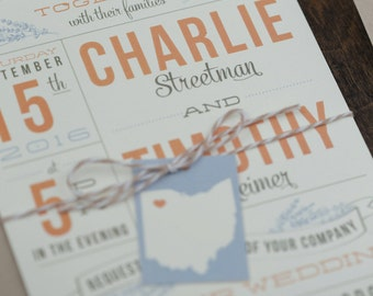 Rustic Wedding Invitations, Lavender Invitation, Country Wedding Invitation, custom state tag with bakers twine SAMPLE