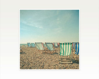 Beach Photography, Landscape, Ocean Art, Coastal Decor, Pastel Colours, Deckchairs, Green and Blue - A Sea View