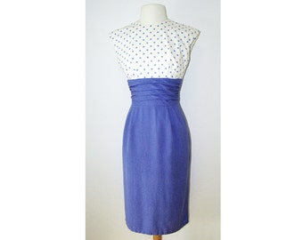 Blue & White Polka Dot 1950's Cocktail Dress 50's