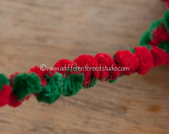 3 yards Red and Green - Vintage Pom Poms Ball Fringe 70s New Old Stock Christmas Two Tone