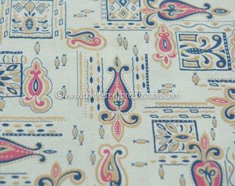 Mid Century Stylized - Vintage Fabric 50s 60s New Old Stock Atomic Metallic