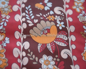 Bold Floral Stripe - Vintage Fabric 60s 70s New Old Stock Stunning Great Mod Colors