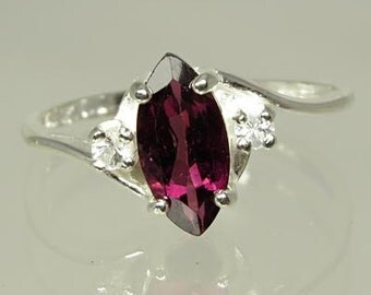 Natural Pink Tourmaline 1.02 carat with White Sapphires .10 ctw. Handset in .925 Sterling Silver Ring  NOW on SALE. - Fast Free Shipping