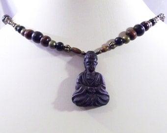 Buddha Meditating Lotus Flower Amulet Pendant Adjustable Necklace