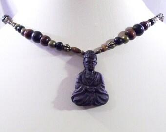 Buddha Quan Yin  Meditating Lotus Flower Amulet Pendant Adjustable Necklace