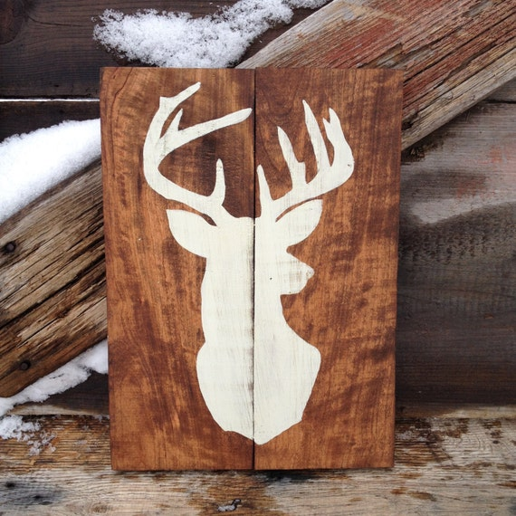Items Similar To Deer Silhouette Rustic Wood Sign Hand