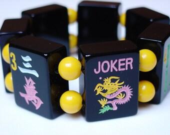 Mah Jong Bracelet / Mah Jong Tile Bracelet / LUCKY / Black / Yellow / JOKER / Mahjong / Mah Jongg / Mah Jong / Majongg / Ma Jongg / LARGE