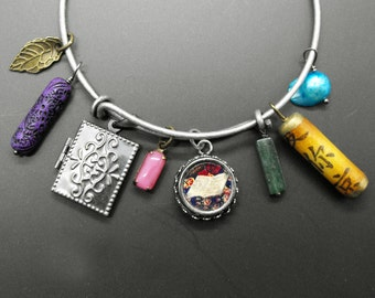 Book Bracelet Adjustable Bangle Bookish Charm Jewelry Gunmetal