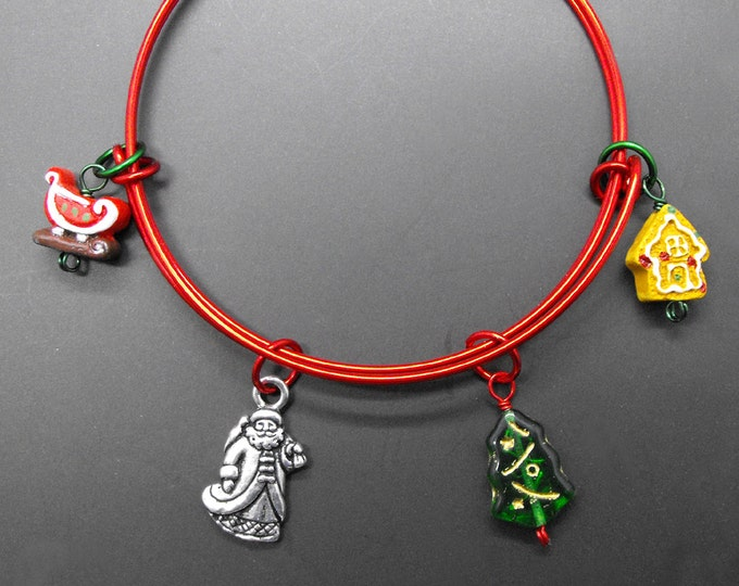Christmas Bracelet Holiday Bangle Adjustable Size Stackable Jewelry