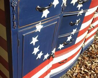 CUSTOM Betsy Ross American flag wood Buffet Sideboard Dresser. to be custom painted