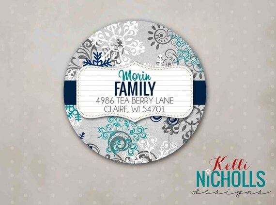 Teal & Navy Blue Snowflake, Custom Holiday Sticker, Circle Address Label
