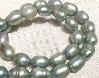 """Rice Baroque Pearl Freshwater Pearl vintage Sea Green silver grey large pearl 10X13mm 16"""" full strand 30 pcs-wholesale deal  #DR3038"""
