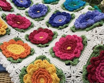 Crochet 3d Flower Baby Blanket Free Pattern : Crochet Pattern - Crochet 3D Flower Baby Blanket (Pattern ...