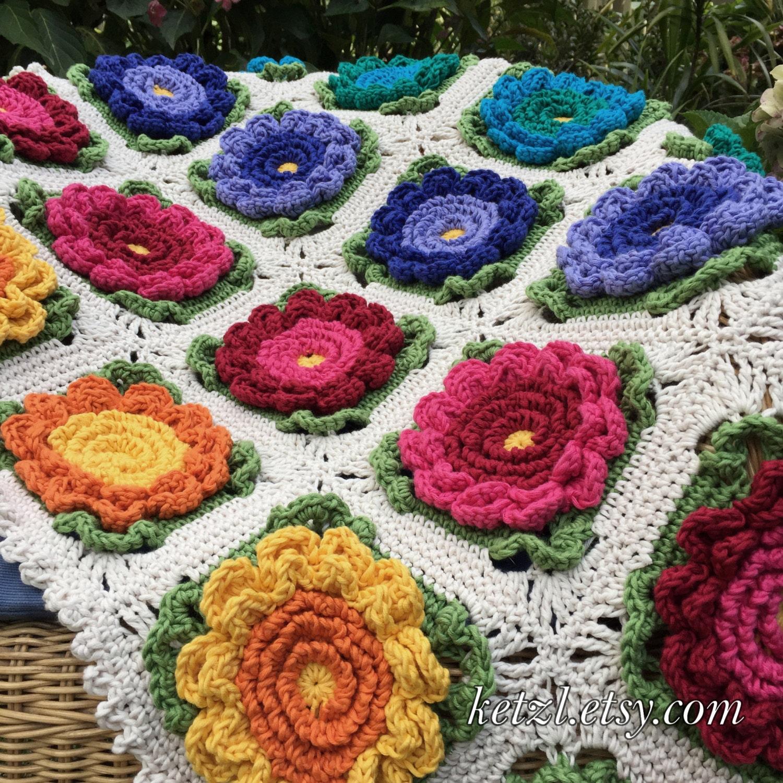 Crochet Flower Blanket : Baby Blanket Crochet Patterns Flower Blanket Pattern by ketzl