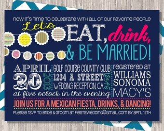 Wedding Reception or Rehearsal Dinner Fiesta Invite, Navy Pink Banner 5x7 printable design