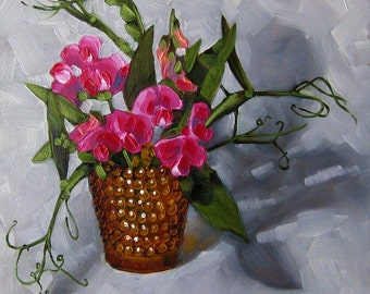"Sweet Pea Floral Painting, Original Oil Painting, Still Life, Gardener or Naturalist Art, Framed - ""Not So Sweet Peas"""