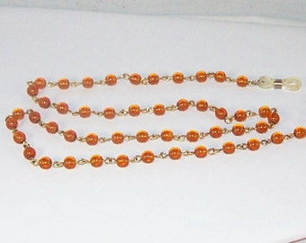Amber and Gold Eyeglass Necklace