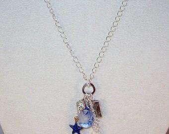 Blueberry Quartz and Swarovski Crystal Lariat Necklace