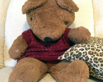 vintage Large Teddy Bear Brown Fur stuffed animal favorite