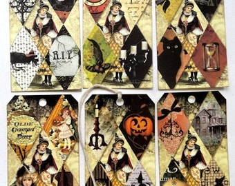 Altered Tiled Halloween Mixed Gift or Scrapbook Tags #T 7