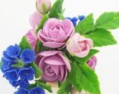 Miniature Polymer Clay Flowers Handmade Supplies Hydrangea and Peony Flowers 1 piece