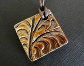 Ceramic Pendant Necklace - Woodfired Textured Coffee Colored