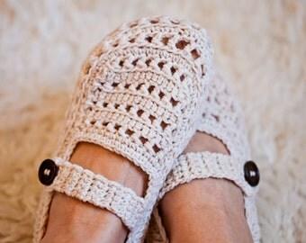 Crochet PATTERN  - Ladies Milky Slippers