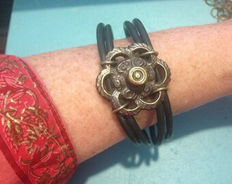 HARDWARE BANGLE BRACELET, Antique Hardware and O Rings,Repurposed Hardware,Rubber Jewelry,Steampunk Jewelry,Boho Jewelry,Avent Garde Jewelry