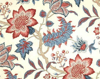 """Red Blue Curtains, Large Scale Floral Curtain Panels, Custom Floral Drapery Panels, Red Blue Home Decor, One Pair Rod-Pocket Curtains 50""""W"""