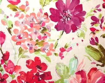"""Watercolor Floral Curtain Panels, Pink Floral Drapes, Linen Window Curtains, Pink Bedroom Curtains, Rod-Pocket Curtains, One Pair 50""""W"""