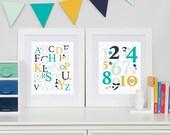 ABC 123 Nursery Wall Art, Modern Kid's Bedroom, Typography Art Set, Baby Shower Gift // Choose Art Print or Canvas // N-XF15-2PS AA1