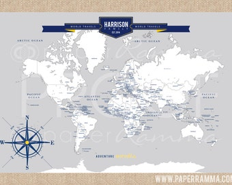 Travel Map with Countries & Capitals, INTERACTIVE Family Map // Mark places visited //  Personalized Canvas or Art Print // H-I18-1PS AA4