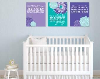 Teal and Purple You Are My Sunshine Nursery Art// 3 Print Set // Custom match colors to your nursery/ Kids room // N-G03-3PS AA1