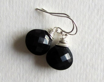 Black Spinel Faceted Dangle Earrings - Wire Wrapped Silver Jewelry - Simple Earrings