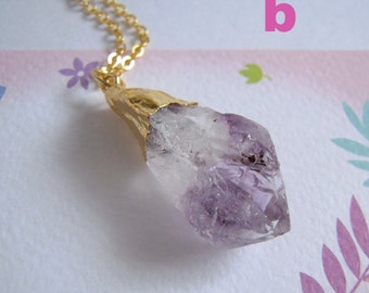 Amethyst Necklace, Rough Gemstone Pendant, Gold Chain Brithstone Jewelry