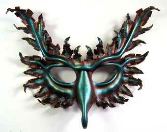 Griffin leather mask, hand-painted in antique copper and oxidized metallic blue-green, gryphon
