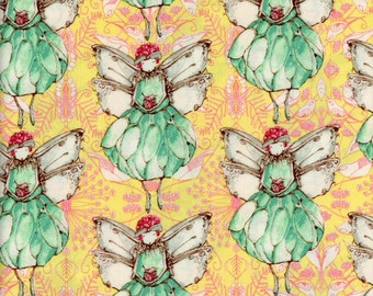Tina Givens Fabric Fairy Magic in Lemon from the Riddles and Rhymes Collection  1/2 Yard