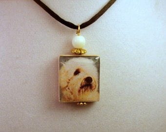 WHEATEN Pendant / Dog Gift / Scrabble Tile / Charm / Handmade Jewelry / Necklace / Soft Coated