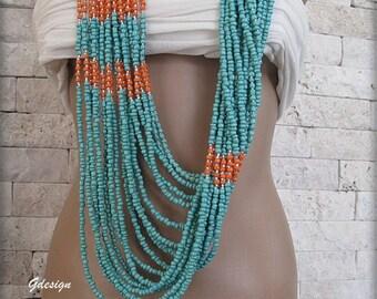 Authentic-ethnic Handmade  necklace, seedbeads, bead work, orange, turquoise . ooak