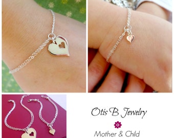 Mother and child bracelet set, Mother's day gift idea, Mother of the bride, two heart bracelets, piece of my heart, sterling silver, otis b