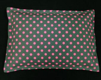 Corn Heating Pad, Microwavable Corn Bag, Lumbar Heat Pack, Hot Cold Therapy Pillow  - Gray Hot Pink Polka Dots