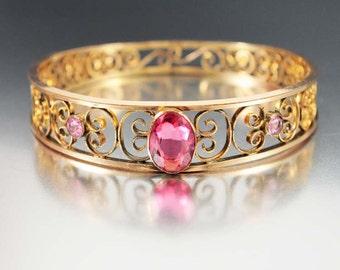 Victorian Gold Filled Cuff Bracelet, Pink Sapphire Large Bangle Bracelet, Antique Jewelry, Glass Gold Filigree Victorian Jewelry