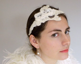Bridal Headband, Winter White Headband, Vintage Style Headband, Something Blue, Ivory Bridal Accessory, Vintage style, 1950 Style Head Piece